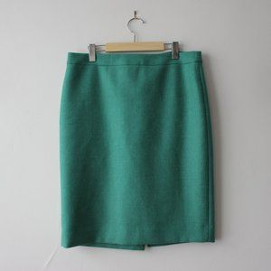 J.Crew Green Wool Pencil Skirt